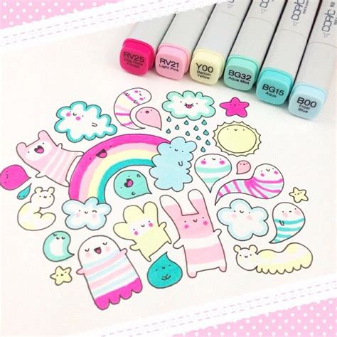 rainbow doodle drawing best 25 kawaii doodles ideas on