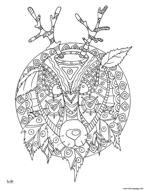 coloring pages of tribal pattern deer with tribal pattern adults coloring pages printable