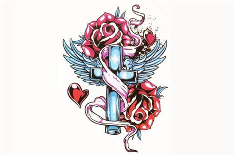 cross with wings and roses tattoo cross roses traditional temporary