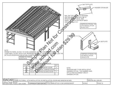 free blue prints 63 24 x 40 pole barn plans 4 car garage plans sds plans