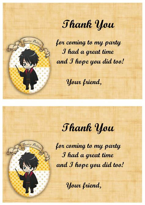 harry potter thank you card template harry potter thank you cards birthday printable