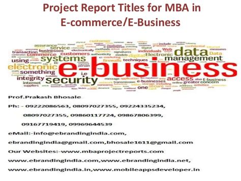Mba E Commerce Course by Project Report Titles For Mba In E Commerce And E Business