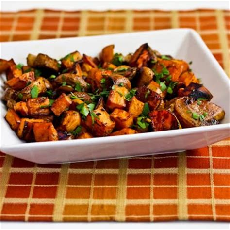roasted sweet potatoes and mushrooms with thyme and