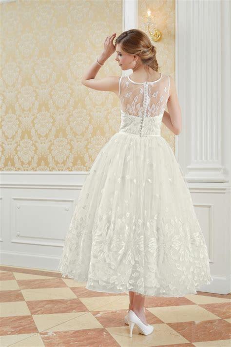 60er jahre stil romantisches wadenlanges brautkleid aus spitze