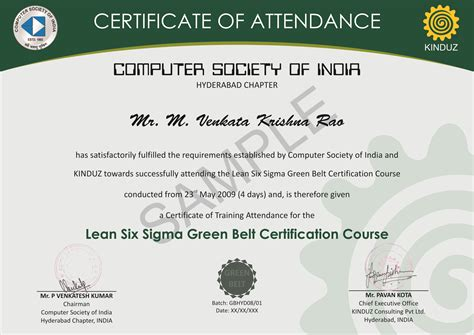 green belt certificate template sle certificates lean six sigma india