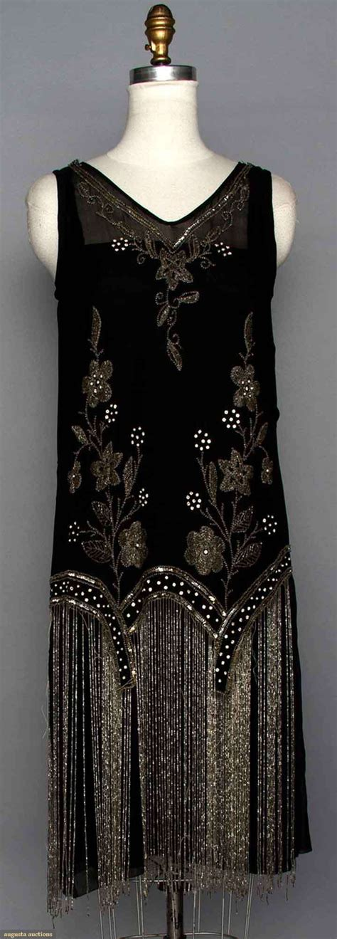 beaded 1920s dress beaded flapper dress 1920s black silk w