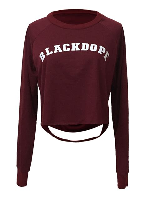 Sleeve Print Cropped T Shirt burgundy letter print ripped back sleeve cropped t