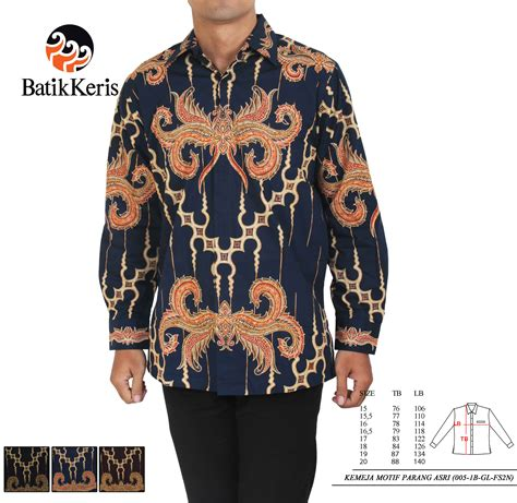 Kemeja Batik Kawung Grompol Printing Lengan Panjang kemeja batik print formal lengan panjang motif parang asri batik keris