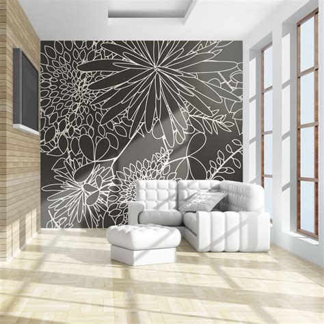 black and white wallpaper murals uk wallpaper black and white floral background 3d