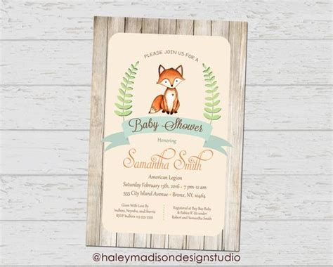 Fox Baby Shower Invitation Rustic Style Invitation Gender Fox Baby Shower Invitation Template