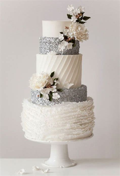 Silver Wedding Cakes by 24 Fab Glittery And Sparkling Wedding Cake Ideas For 2016