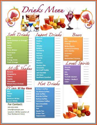7+ drink menu template bookletemplate.org