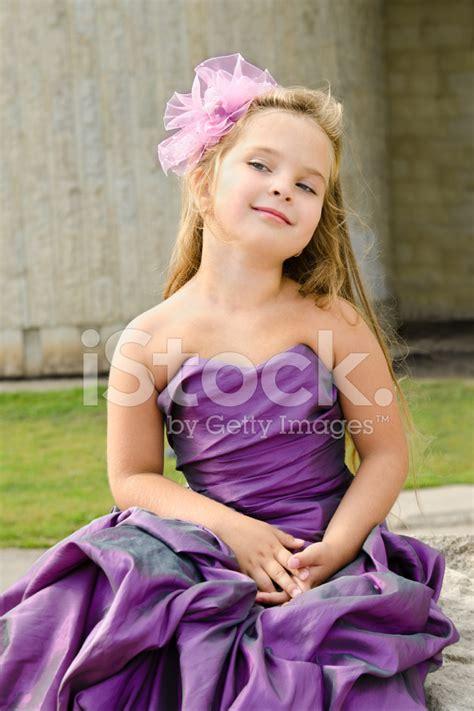 Portrait of Cute Little Girl IN Princess Dress stock