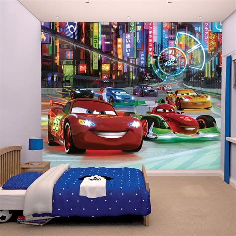 cars decorations for bedrooms walltastic disney cars wallpaper mural my cms
