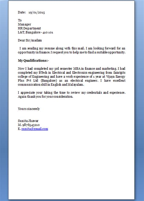 Cover Letter Mba Finance Fresher by How To Make A Cover Letter For A Resume