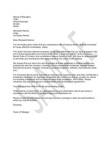 Termination Letter Template Uae Sample Letter For Termination For Just Cause