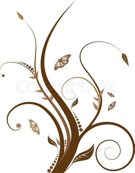 Butterflies Home Decor Abstract Floral Design With Flowing Line In Shades Of