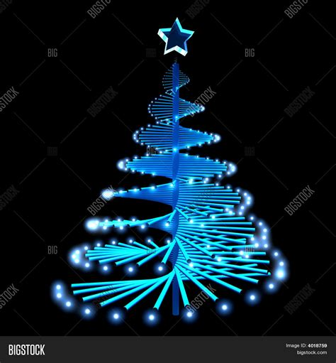 abstract christmas tree with blue lights stock photo