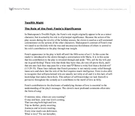 Twelfth Essays by Twelfth A Level Marked By Teachers