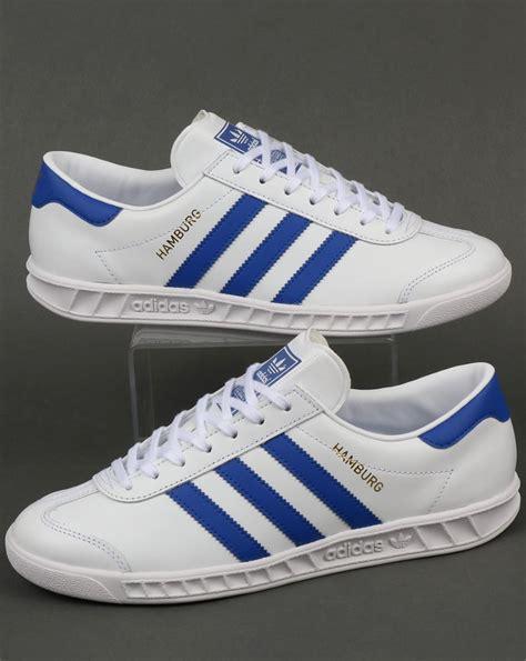 Adidas Hamburg 5 adidas hamburg trainers white bold blue originals mens