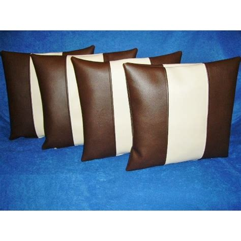 faux leather couch cushion covers 4 x faux leather cushion covers in brown cream stripe