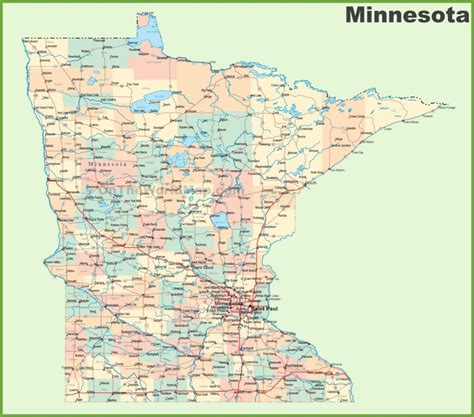 map of minnesota cities road map of minnesota with cities