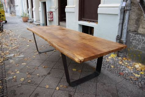 steel esszimmertisch solid oak table large oak slab tabletop on steel u frame