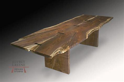 edge wood table finished edge board leg live edge dining table jeffrey greene