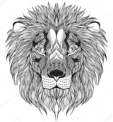pattern drawing lion tatouage de t 234 te de lion image vectorielle diana