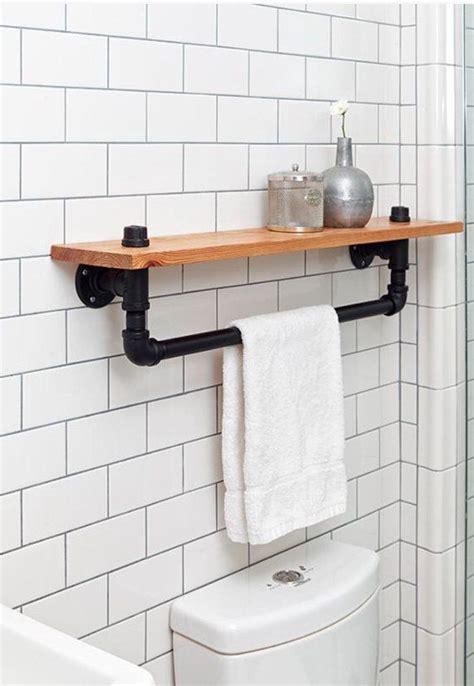 black bathroom wall cabinet with towel bar industrial towel rack shelf rustic bathroom accessory
