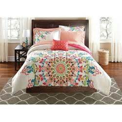 girls bed in a bag sets girls peach pink white global medallion comforter bedding