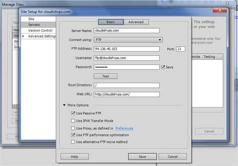 setup xp server dreamweaver tutorial configure ftp access in dreamweaver cs6