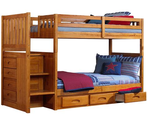 Bunk Bed With Stairs Ridgeline Honey Mission Staircase Bunk Bed Bed Frames Discovery World Furniture