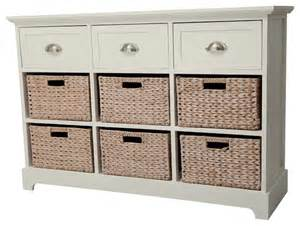 Gallerie decor newport 3 drawer 6 basket table contemporary dressers
