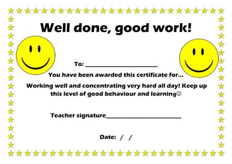 well done certificate template well done certificate by elliemanfield1 teaching