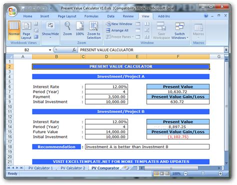 Present Value Calculator Download Present Value Calculator Excel Template