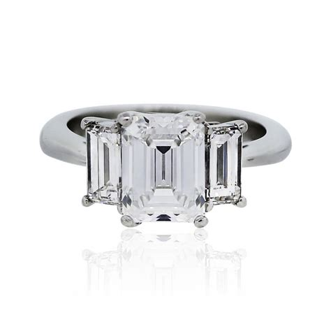 3 45 carat emerald cut certified engagement ring