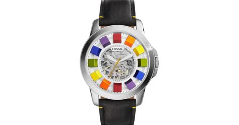 Fossil Rainbow Leather 2 Warna fossil grant automatic leather in multicolor