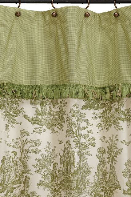 Toile Curtains Green Ready Made Shower Curtain Colonial Toile Green Farmhouse Shower Curtains