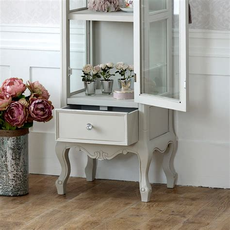 grey wooden ornate glazed display cabinet shabby french chic bedroom furniture ebay