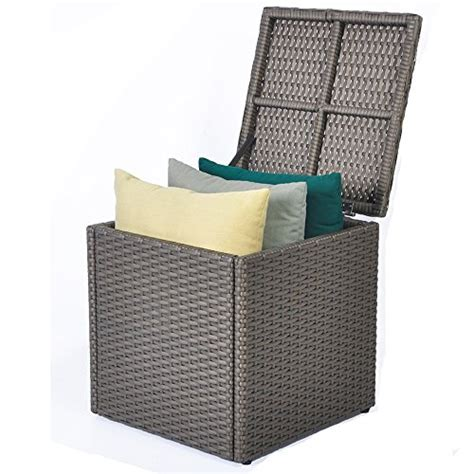 wicker bench seat with storage outdoor patio resin wicker deck box storage container