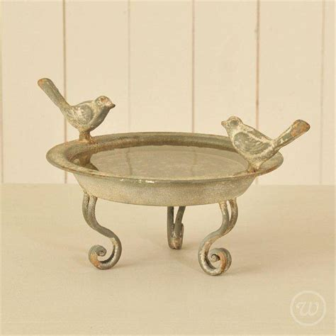 distressed metal bird bath by little red heart
