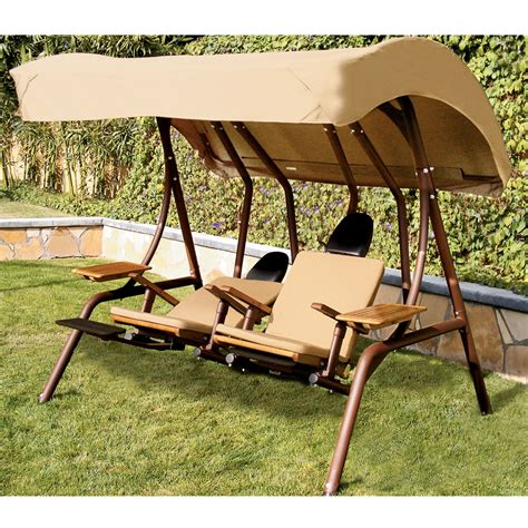 the dual reclining covered lounge swing hammacher schlemmer