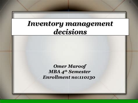 Inventory Management Mba Notes by Inventory Management