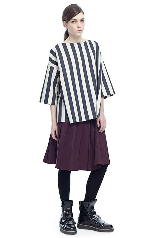 florie blouse marni crispy st charcoal stripes crew neck blouse in gray