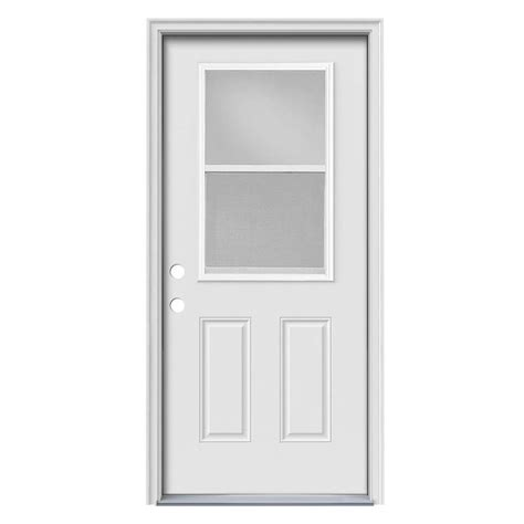 Vented Exterior Doors Shop Jeld Wen 2 Panel Insulating Vented Glass With Screen Right Inswing White Steel