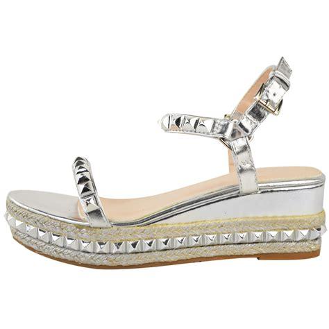 Sandal Platform Wedges Slop Gold womens gold stud wedge summer sandals ankle platforms shoes ebay