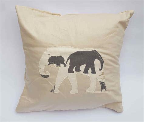 Handmade Soft Furnishings - elephant stencil design cushion handmade soft