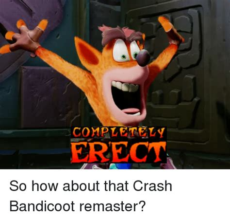Crash Bandicoot Meme - 25 best memes about completely erect completely erect memes