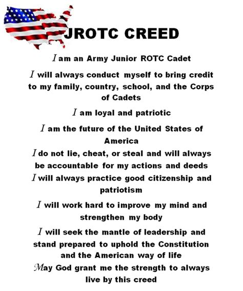 Cadet Creed Lakes High School Army J R O T C Jrotc Schedule Template